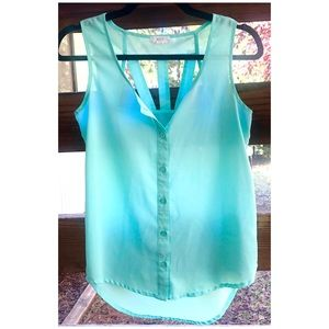 MINE Anthropologie Aquamarine Button-Up Tank